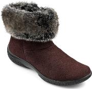 Romance Faux Fur Collar Ankle Boots, Chocolate