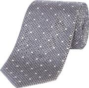 Silk Textured Tie, Light Grey
