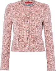 Longsleeve Textured Button Front Jacket, Multi Coloured