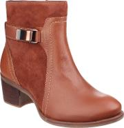 Hush Puppies Fondly Nellie Zip Up Ankle Boots, Cognac