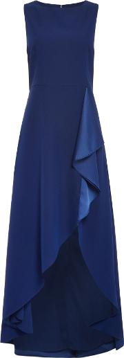 Bella Ruffle Front Satin Dress, Blue