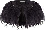 Betty Embellished Feather Cape, Black