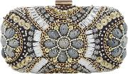 Embellished Box Clutch, Silver