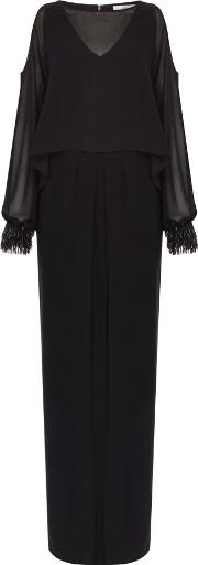 Evie Embellished Cuff Cold Shoulder Maxi, Black