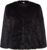 Issa Chloe Faux Fur Cropped Jacket, Black