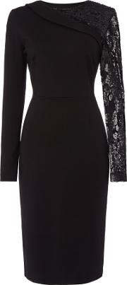 Lillian Sequin Sleeve Fitted Dress, Black