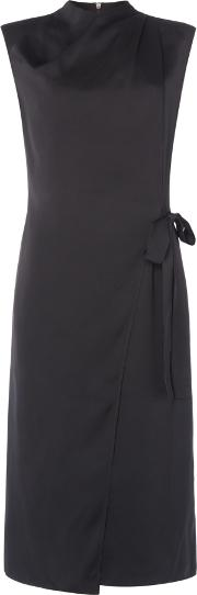 Stella Wrap Front Tie Dress, Black