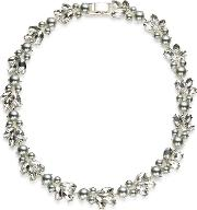 Jacques Vert Pearl Crystal Collar Necklace, Light Grey