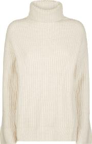 Ribbed Cowl Neck Sweater With Fluted Sleeve, White