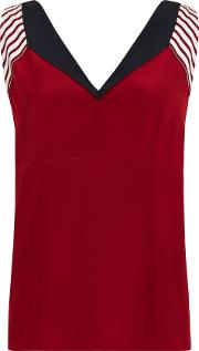 Silk Colour Block Panel Top, Red