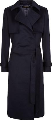 Wool Trench Coat, Blue