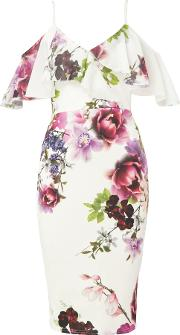 Floral Print Thin Strap Midi Dress With Ruffles, Multi Coloured