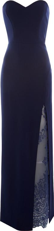 Strapless Maxi With Side Slit, Blue
