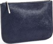 Alana Large Textured Pouch, Blue