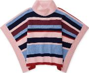 Girls Knit Stripe Poncho, Multi Coloured