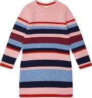 Girls Knit Stripe Tunic Dress, Multi Coloured