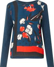 Nordic Floral Border Silk Front Top, Blue