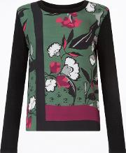 Nordic Floral Border Silk Front Top, Green
