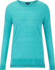 Wafer Cashmere Crew Jumper, Turquoise