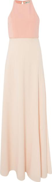 Illusion Crop Top Gown In Colour Block, Pink