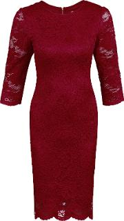 Scalloped Lace Bodaycon Dress, Red