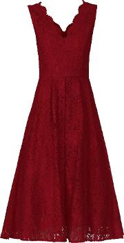 Scalloped Lace Prom Dress, Red