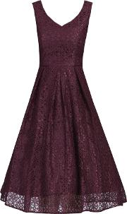 Sweetheart Pleated Lace Dress, Red