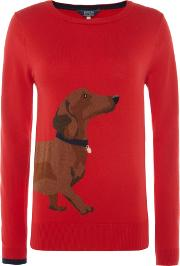 Intarsia Jumper With Animal Print, Red