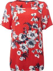 Short Sleeves Crew Neck Printed Woven Top, Red