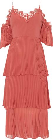 Cold Shoulder Layered Pleated Dress, Salmon