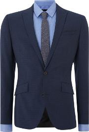 Men's  Hendrickson Grid Pattern Slim Fit Suit Jacket, Navy
