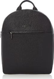 Saffiano Leather Backpack, Black