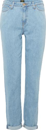 Tapered Mom Jeans In Bleached Stone, Denim Light Wash
