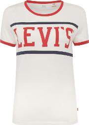Levi's Perfect Ringer T Shirt In Sport Marshmallow, White