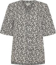 Brush Print Short Sleeve Blouse, Black
