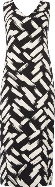 Brush Stroke Back Detail Dress, Black