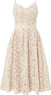 Little Mistress Fit And Flare Lace Midi Dress, White