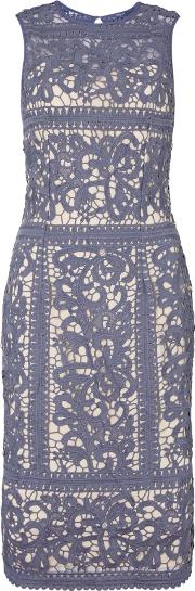 Sleeveless Embroidered Lace Bodycon Dress, Lavender
