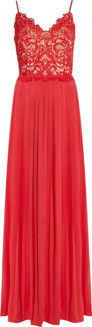 Strappy Embroidered Pleated Maxi Dress, Orange