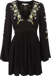 Embroided Long Sleeve Mini Dress, Black
