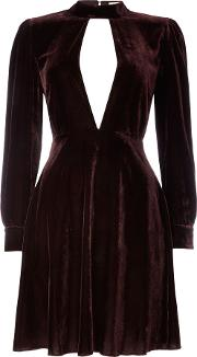 Little White Lies Long Sleeved Collar Cut Out Velvet Dress, Red