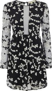 Long Sleeve Print Sheer Dress, Black