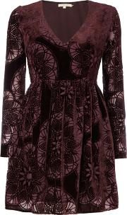 Long Sleeved Devore Velvet Dress, Red