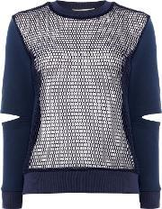 Long Sleeves Crew Neck Cutout Knit Sweater, Navy