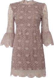 Longsleeve High Neck Embroidered Dress, Purple