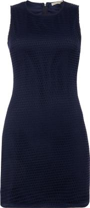 Short Sleeve Crew Neck Dress, Blue