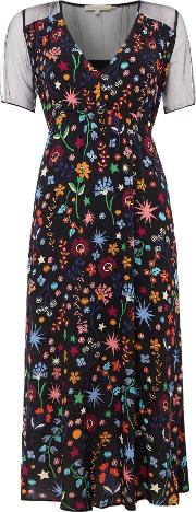 Short Sleeve Crew Neck Dress With Floral Print, Multi Coloured