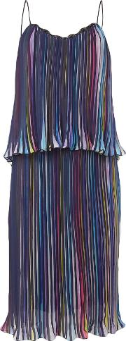 Thin Strap Overlay Pleated Mini Dress, Multi Coloured
