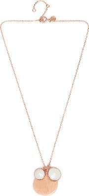 Nerio Short Necklace White Sea Shell, Rose Gold