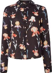 Longsleeve Floral Print Shirt, Multi Coloured
